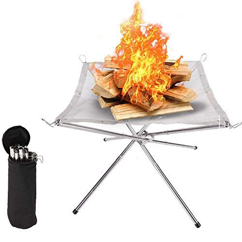 hi!SCI Portable Outdoor Fire Pit - Upgrade Foldable 16.5 Inch Camping Fire Pit,Mesh Fireplace for Camping, Outdoor, Backyard and Garden