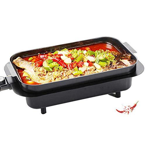 JIAMING 8-Serving Smokeless Elektro-Bratpfannen Non-Stick Elektrogrill Smokeless, 2 Kochzonen mit regelbarer Temperatur, mit Austauschbare Backblech (gekochten Fisch), 2200W High Power, waschbar