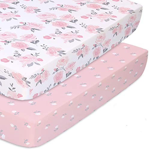The Peanutshell Fitted Pack n Play Playard Mini Crib Sheets for Baby Girls | 2 Pack Set | Pink Roses and Floral