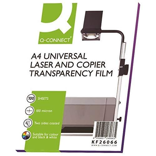 Q-Connect KF26066 OHP PPC Film Clear 100-Micron (Pack of 100)