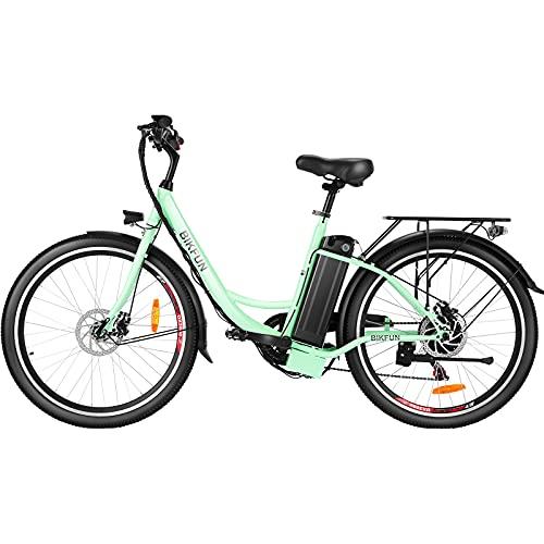 BIKFUN Vélo Électrique 26 pouces City E-Bike   15Ah/540Wh Batterie Amovible Portée 70KM   Shimano 7 Vitesses Jusqu'à 32KM/H   350W Vélo Électrique de Ville pour Homme et Femme Adultes   Pédale Pedelec