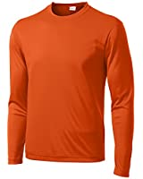 Clothe Co. Men's Long Sleeve Moisture Wicking Athletic Sport Training T-Shirt, 4XL, Deep Orange