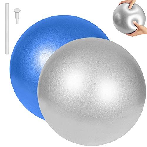 CMTOP Pelota de Pilates de Yoga Pelotas de Ejercicio Anti-Burst Ballon Fitness Softball Pilates Suave Antideslizante Bola de Yoga Pilates para Yoga Equilibrio Entrenamiento 25cm(Gris + Azul,25cm)