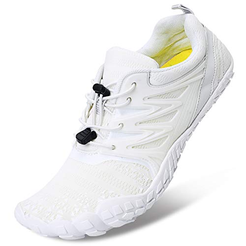 L-RUN Mens Trail Running Shoes Quick Dry Hiking Shoes White Women 11, Men 8.5 M US