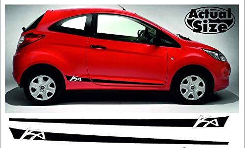 SUPERSTICKI kompatibel für Ford Ka Seitenstreifen Rallyestreifen Sport Side Racing Stripes beidseitig Aufkleber Autoaufkleber Tuningaufkleber Hochleistungsfolie für alle glatten Fläch