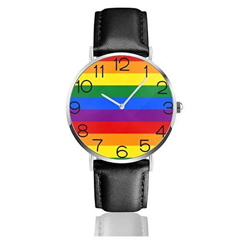 Reloj de Pulsera Reloj de Cuarzo Casual clásico Bandera de Orgullo Gay Reloj de Correa de Cuero Negro arcoíris Relojes de Negocios/Oficina/Trabajo/Escuela