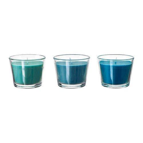 IKEA Duftkerze im Glas BRÄCKA Set 3 Stück in 4 Farben und Duftnoten (türkis)