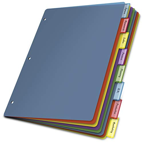 Cardinal Plastic Binder Dividers without Pockets, 8-Tab, Insertable Multicolor Tabs, Letter Size, 1 Set (84019)