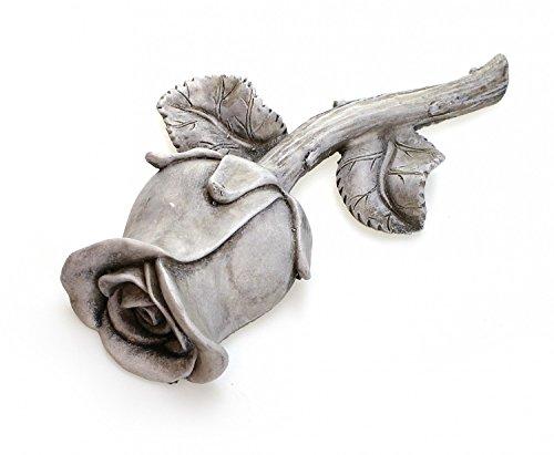 TEMPELWELT Grab Deko Blume Rose Rosenknospe Zum Hinlegen, 17x9 cm Groß, Polystein Stein Optik Grau, Grabdeko Dekorose Dekoblume Trauerstätte Gartendeko Garten