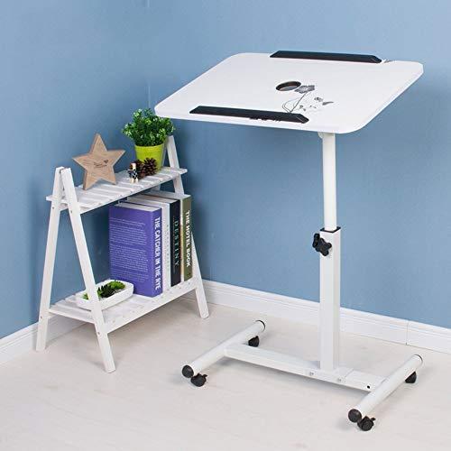 Escritorio móvil con ruedas para ordenador portátil, de pie, de 56 x 62 cm, color blanco