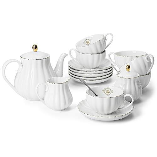 Amazingware Porcelain Tea Set - Tea Cup and Saucer Set Service for 6, with 28 oz Teapot Sugar Bowl Cream Pitcher Teaspoons and Tea Strainer - for Thanksgiving - Pumpkin Fluted Shape, White