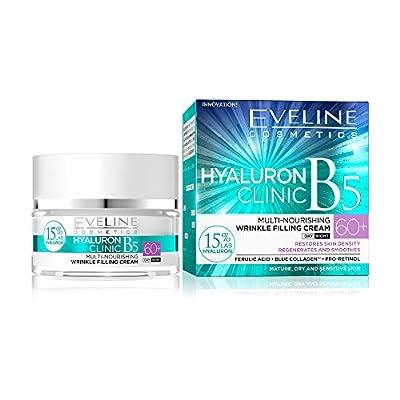 Eveline Cosmetics Hyaluron Clinic Multinourishing Lifting Anti-Wrinkle Cream against Discolouration 60+ | 50 ml | Anti Ageing Day Night Cream | Mature Skin Face Lift Serum | Intense Regeneration from Eveline Cosmetics