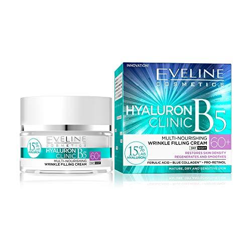 Eveline Cosmetics Hyaluron Clinic Multi-pflegende Creme zum Füllen von Falten 60+ | Für reife Haut | Tägliche Pflege | Tag und Nacht | Intensive Regeneration