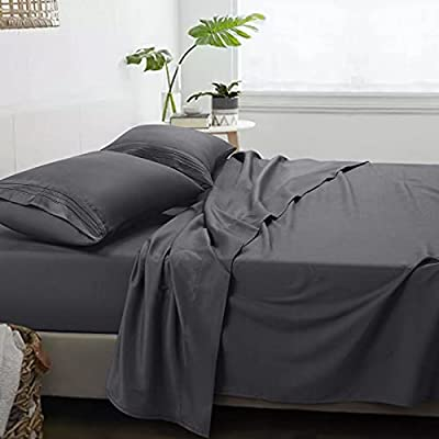 COHOME Luxury Bed Sheets Queen Set 1800 Thread Count Microfiber Sheets , Deep Pocket Sheets,Super Soft Cooling Sheets & Pillowcases Wrinkle,Shrinkage,Fade,Stain Resistant - 4 Pc Dark Grey Sheets Set