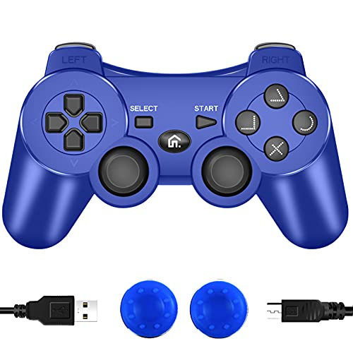 CFORWARD PS3 Controller, Wireless Bluetooth Gamepad Double Vibration Six-Axis Remote Joystick for Playstation 3 with Charging Cord [video game]