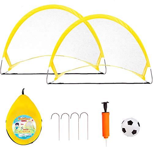 DSZZ Health Fußballtore Fußballset mit 2 zusammenklappbaren tragbaren Fußballnetzen für Kleinkinder Hinterhof-Indoor-Outdoor-Spiele für Kinder im Alter von 2-8 Jahren,75cm