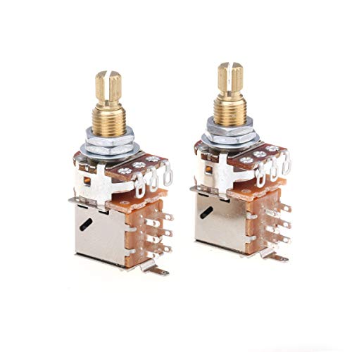 Musiclily Pro Messing Full Metrische Größe Split Shaft Control Poti A250K Push/Pull Audio Taper Potentiometers für Gitarre (2er Set)
