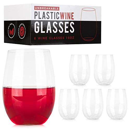 ConnectedPlus 16 oz Stemless Plastic Wine Glasses: Set of 6 - Unbreakable Party Glass Wine Tumblers - 100% Tritan Shatterproof, Reusable Stemless Wine Cups Perfect for Outdoor Picnics