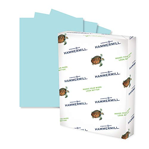 Hammermill Colored Paper, 24 lb Blue Printer Paper, 8.5 x 11-1 Ream (500 Sheets) - Made in the USA, Pastel Paper, 103671R