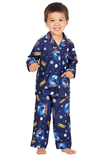 The Polar Express Toddler Believe Button-Front Coat Shirt And Pants Pajama Set (5T) Blue