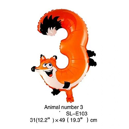 Review Utini 500pcs/lot 16 inch Animal Arabic Numerals Balloon Cartoon Foil Balloons for Birthday We...