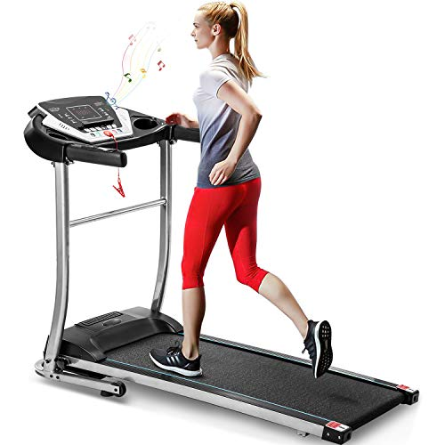 Merax Electric Folding Treadmill Motorized Running Machine with Speaker and 12 Built-in Programs for Home, Easy Assembly