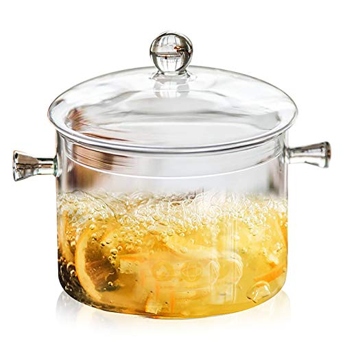 Jucoan 1.5L/50oz Glass Saucepan with Cover, Heat Resistant Glass Stovetop Cooking Pot with Lids for Pasta Noodle, Soup, Milk, Baby Food