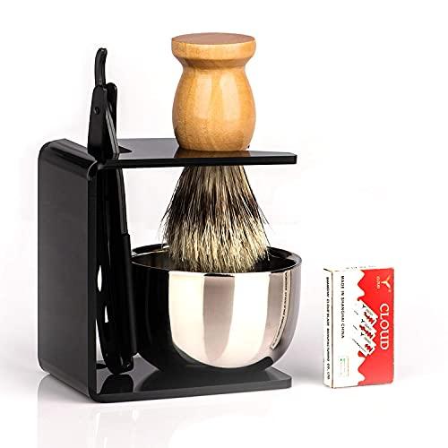 Barber Straight Razor Kit Durable Barber Straight Edge Razor Kit with 10 Double Edge Straight Razor Blades,Shaving Bowl and Stand,Shaving Brush with Wood Handle,Shaving Kit for Men