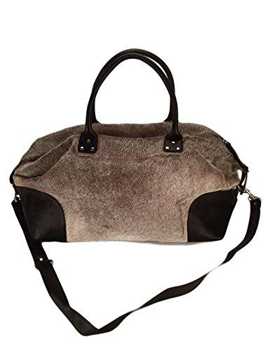 Hi select Kuhfelltasche Weekender schwarz- grau Echtfell Reisetasche