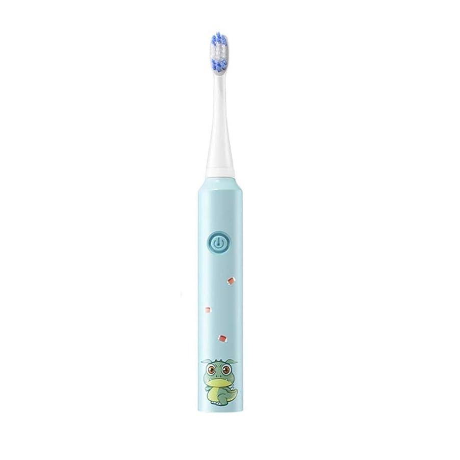 季節クラック所有者電動歯ブラシキッド、6歳以上の子供用:1充電式ハンドルおよび歯ブラシヘッド、滑り止めハンドル (Color : Blue, Size : 2 brush heads)