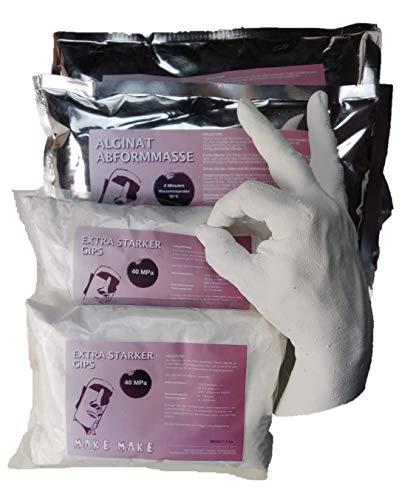 Make Make | 2 x 3D Erwachsenengipshand Oder -Fuß Gussset | 2 x Alginat Abformmasse Und Colour Fix Bindemittel