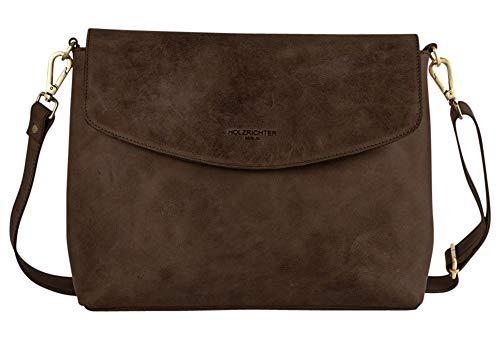HOLZRICHTER Berlin Umhängetasche (L) - Elegante Handtasche & Schultertasche Aus Leder - A4 Größe - Schokoladenbraun