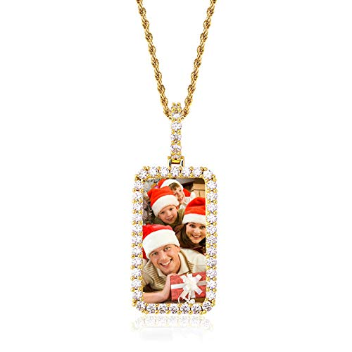 Collar con foto personalizado Collar con colgante de memoria Collar con etiqueta de perro Collar de hip hop para hombres(Chapado en oro 14)