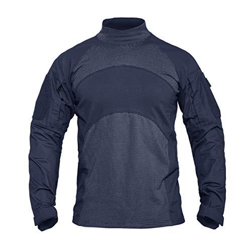 KEFITEVD KEFIETVD Militär Shirt Herren US Army Sweatshirt Tactical Uniform Tarn T-Shirt Outdoor Hemd Langarm Safari Shirt Jagdhemd, M, Dunkelblau