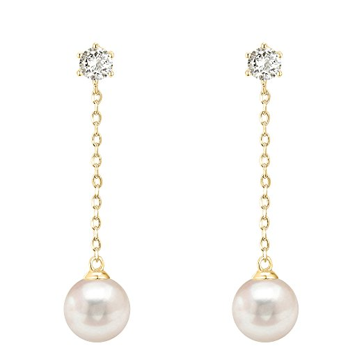 PAVOI 14k Yellow Gold Plated Sterling Silver Post Shell Pearl Drop Earrings   Pearl Earrings for Women