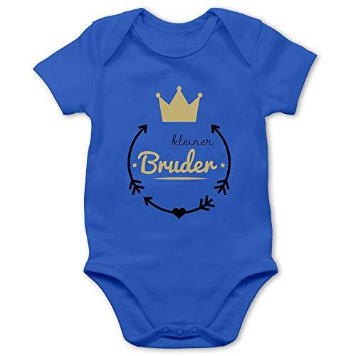 Geschwisterliebe Baby - Kleiner Bruder - Krone - 3/6 Monate - Royalblau - Geschwister t-Shirts Kleiner Bruder - BZ10 - Baby Body Kurzarm für Jungen und Mädchen