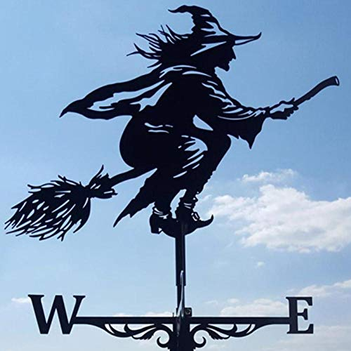 Easter Gifts Metal Retro Weathercock Witch Shape Iron Wind Directions Indicators Garden Wind Speed Spinner Decoration Vintage Retro Weather Vane Witch Shape Outdoor Ornaments Farm Backyard Lawn Decor