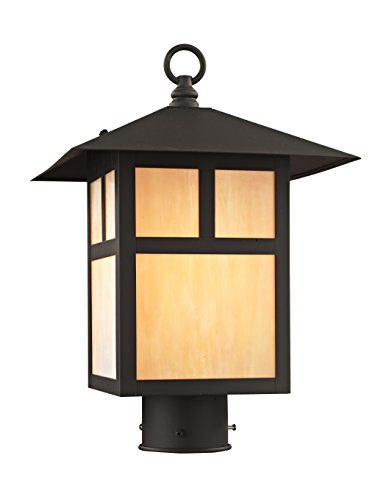 Livex Lighting 2134-07 Montclair Mission 1 Light Outdoor Bronze Finish Solid Brass Post Head with Iridescent Tiffany Glass
