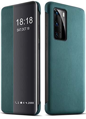 EUDTH Huawei P40 Pro Hülle, Flip Cover Smart View Window Hülle Schutzhülle PU Leder Handyhüllen für Huawei P40 Pro 6.58