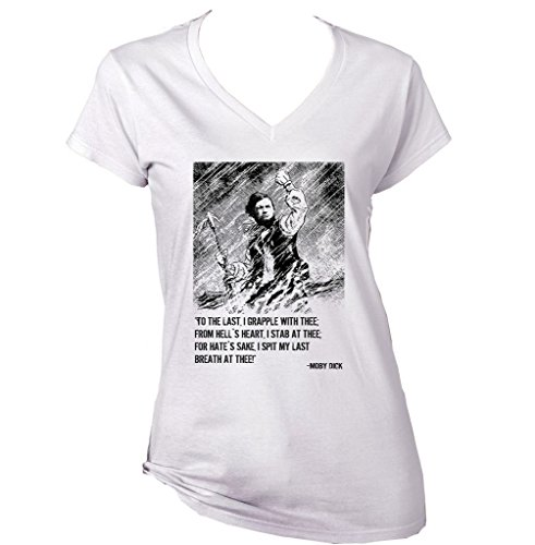 teesquare1st Melville Moby Dick Camiseta para Mujer de Algodon Size Xlarge
