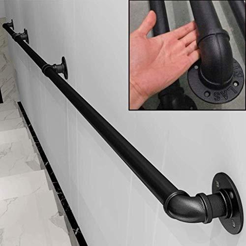 DJSMfs Treppengeländerhandlauf Komplett-Set.Schmiedeeisen Industrierohr Griffige Treppengeländer, Haus gegen die Wand Indoor Loft Ältere Geländer Geländer Korridor Tür (Size : 10ft)