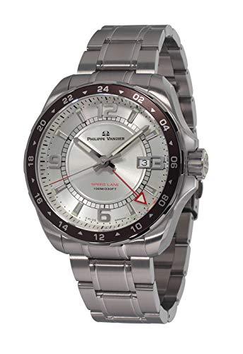 Philippe Vandier Reloj Hombre Swiss Made Speed Lane GMT Silver Movimiento Cuarzo Suizo con Correa de Acero 316L y Cristal de Zafiro