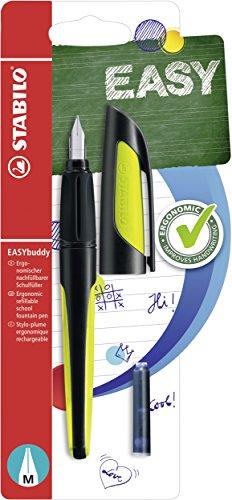 Schulfüller mit Standard-Feder M - STABILO EASYbuddy in schwarz/limette - Schreibfarbe blau (löschbar) - Einzelstift - inklusive Patrone