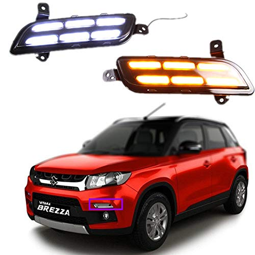 AupTech Off-Road White LED Daytime Running Lights Car LED DRL Driving Yellow Signal Function for Maruti Suzuki Vitara Brezza 2015-2017