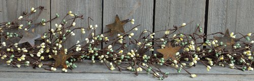 Pip Berry and Rusty Star Garland, Coffee Bean - 45'