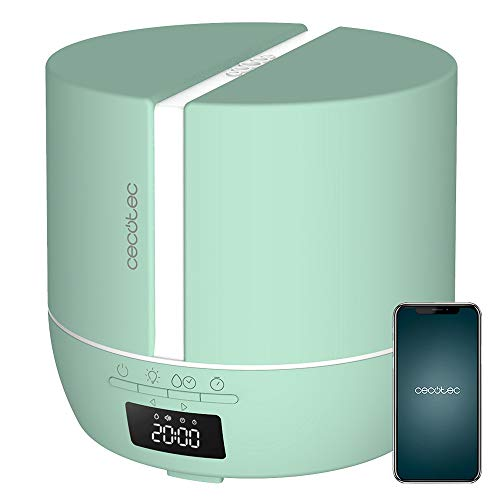 Cecotec Difusor de aromas PureAroma 550 Connected Sky. Capacidad 500ml, Pantalla LED, Altavoz, Control por bluetooth, App, Temporizador 12h, 3 Modos de funcionamiento, Cobertura 30m2