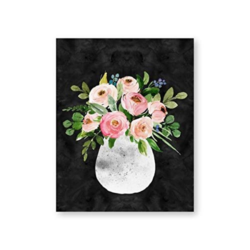 N / A Still life poster print watercolor flower vase gallery wall art canvas painting picture bedroom contemporary wall art frameless decorative canvas painting lyA58 70x100cm