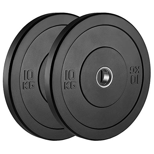 AMGYM KG Bumper Plates Olympic Weight Plates 2 inch Steel Insert, Strength Training, Pair