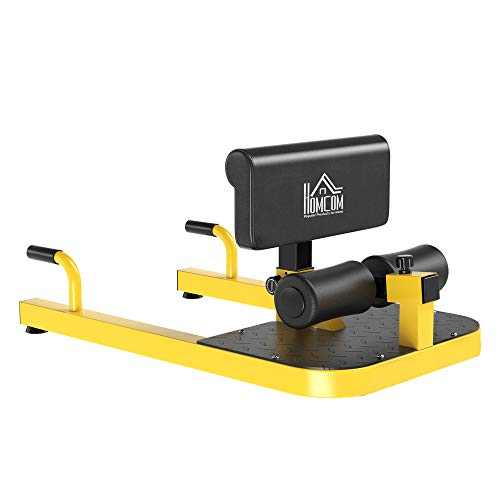 HOMCOM 3-in-1 Padded Push Up Sit Up Deep Sissy Squat Machine Home Gym Work Out Leg Fitness Equipment, Yellow