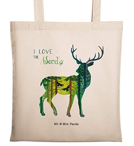 Mr. & Mrs. Panda Tasche, Shopper, Tragetasche Hirsch I Love The Woods mit Spruch - Farbe Transparent